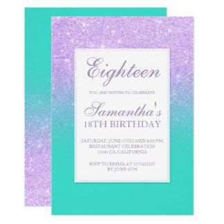 Cartão Chique dezoito de turquesa do brilho da lavanda do