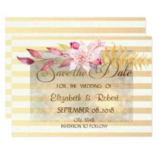 Cartão Chique moderno as flores listradas salvar a data