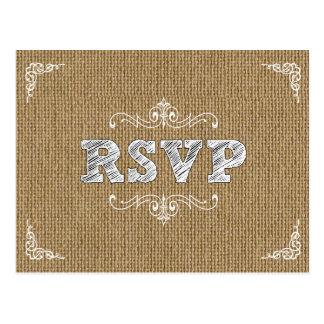 Cartão chique rústico do rsvp do casamento de