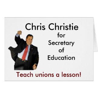 Cartão Chris Christie para o secretário de educação