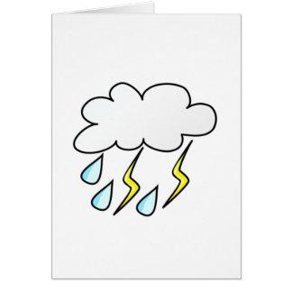 Cartão Chuva e relâmpago no temporal