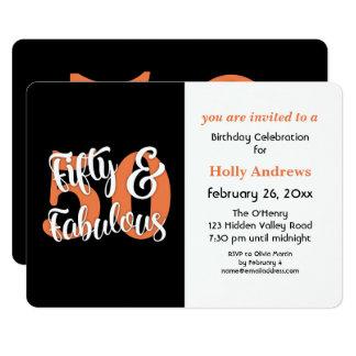 Cartão Cinqüênta & festa de aniversário alaranjada