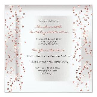 Cartão Cinzas de prata dos confetes Glam do ouro do rosa