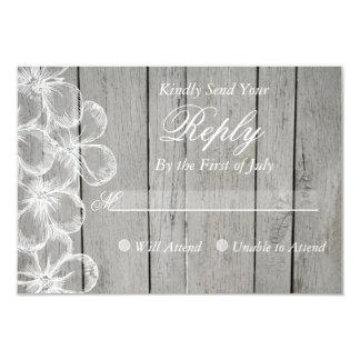Cartão cinzento da resposta do casamento do país convite 8.89 x 12.7cm