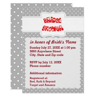Cartão cinzento e branco do chá de panela do convite 12.7 x 17.78cm