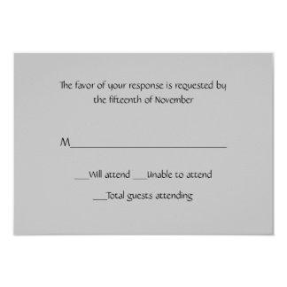 Cartão cinzento multifacetado da resposta convite 8.89 x 12.7cm