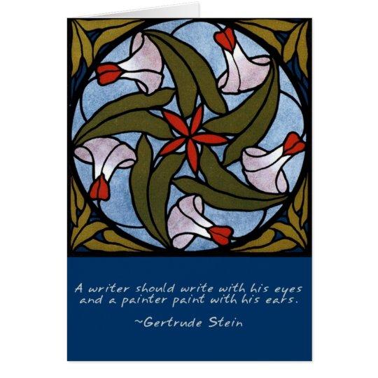 Cartão Citações brancas de Gertrude Stein das corriolas