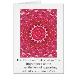 Cartão Citações dos direitos dos animais de Emile Zola,