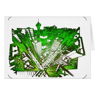 Cartão city em 3 point version perspective special green