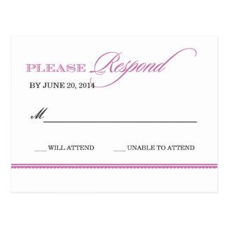 Cartão clássico da resposta do casamento da cartão postal