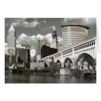 Cartão Cleveland Ohio preto e branco
