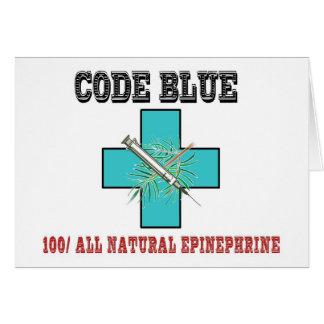 Cartão Codifique o azul 100% toda a epinefrina natural