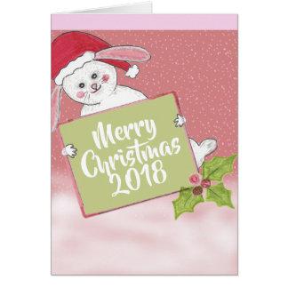 Cartão Coelho da neve do Feliz Natal