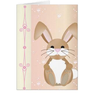 Cartão Coelho no rosa