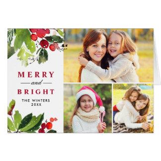 Cartão Colagem floral da foto da aguarela do Natal |