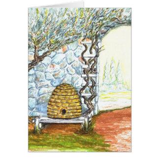Cartão colmeia da abelha do pátio