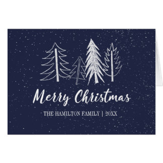 Cartão Colora a Não-Foto nevado editável das árvores do