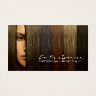Cartão colorido do estilista do corte de cabelo do
