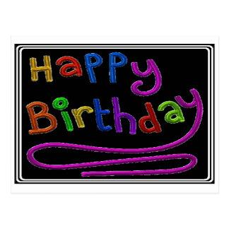 Cartão colorido do feliz aniversario cartão postal