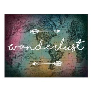 Cartão colorido do mapa do mundo do Wanderlust
