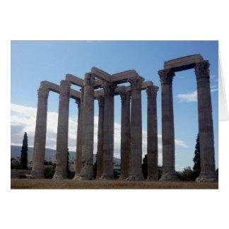 Cartão colunas do templo do zeus