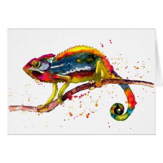 Cartão com Chameleon handgemaltem velho com acordo