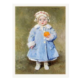 Cartão com criança bonito com uma laranja cartão postal