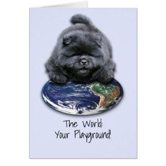 Cartão com filhote de cachorro da comida
