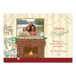 Cartão com fotos alegre & brilhante da lareira da  convite personalizado