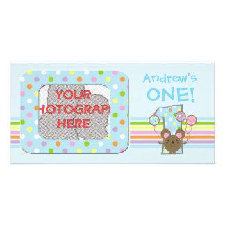 Cartão com fotos azul do aniversário do rato do ba