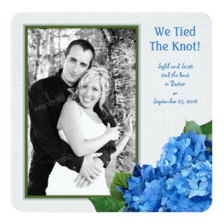 Cartão com fotos azul do anúncio do casamento do convite quadrado 13.35 x 13.35cm