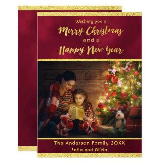 Cartão com fotos Borgonha do Feliz Natal e