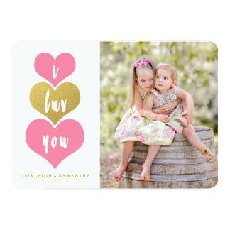 Cartão com fotos cor-de-rosa doce do dia dos convite 12.7 x 17.78cm