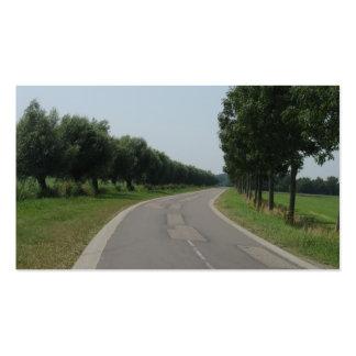 Cartão com fotos curvado das árvores da estrada cartoes de visita