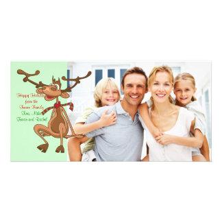 Cartão com fotos da família da rena do Natal
