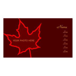 Cartão com fotos da folha do outono cartão de visita