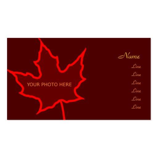 Cartão com fotos da folha do outono cartões de visita