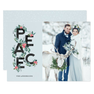 Cartão com fotos da paz das bagas do feriado convite 12.7 x 17.78cm