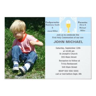 Cartão com fotos do azul do convite do comunhão do