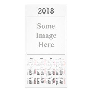 cartão com fotos do calendário do modelo 2018