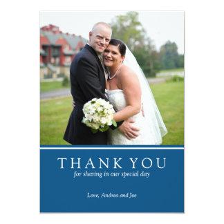 Cartão com fotos do casamento (azul) - obrigado convite 12.7 x 17.78cm