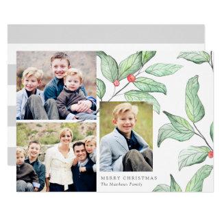 Cartão com fotos do feriado 3 das bagas do inverno convite 12.7 x 17.78cm