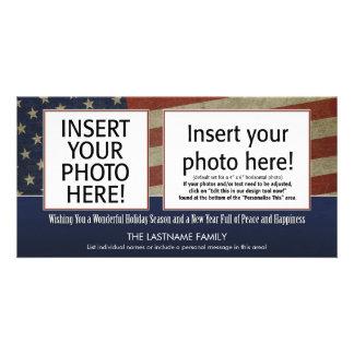 cartão com fotos do feriado com um tema patriótico