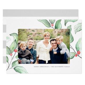 Cartão com fotos do feriado das bagas do inverno convite 12.7 x 17.78cm