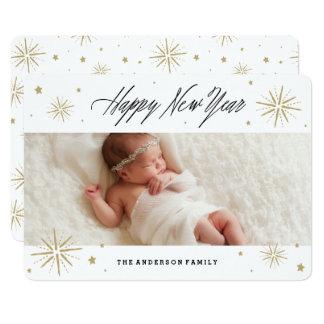 Cartão com fotos do feriado do ano novo da luz das convite 12.7 x 17.78cm