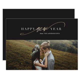 Cartão com fotos do feriado do ouro do falso do convite 12.7 x 17.78cm