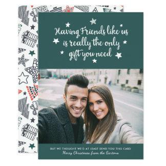 Cartão com fotos   do feriado dos amigos verde convite 12.7 x 17.78cm