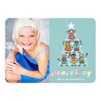 Cartão com fotos do feriado dos miúdos da árvore convite 11.30 x 15.87cm