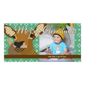 Cartão com fotos do verde do Natal da rena