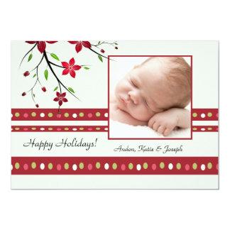 Cartão com fotos festivo da poinsétia convite 12.7 x 17.78cm